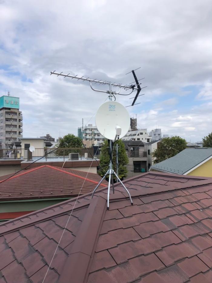 江戸川区東小松川|UHFアンテナ+BS/CSアンテナ工事