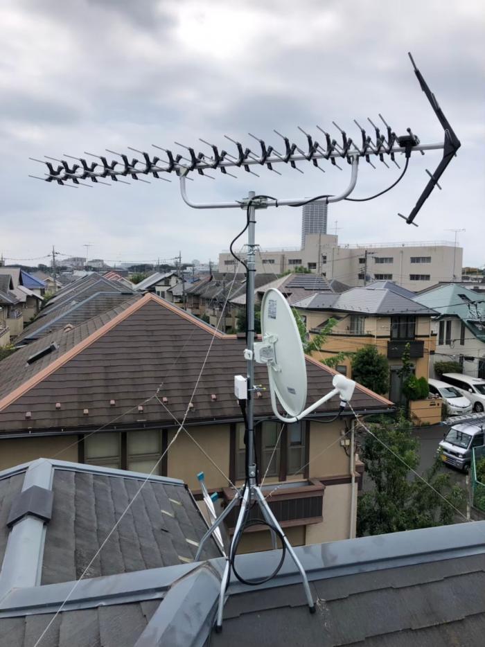 調布市佐須町|高性能UHFアンテナ+BS/CSアンテナ工事
