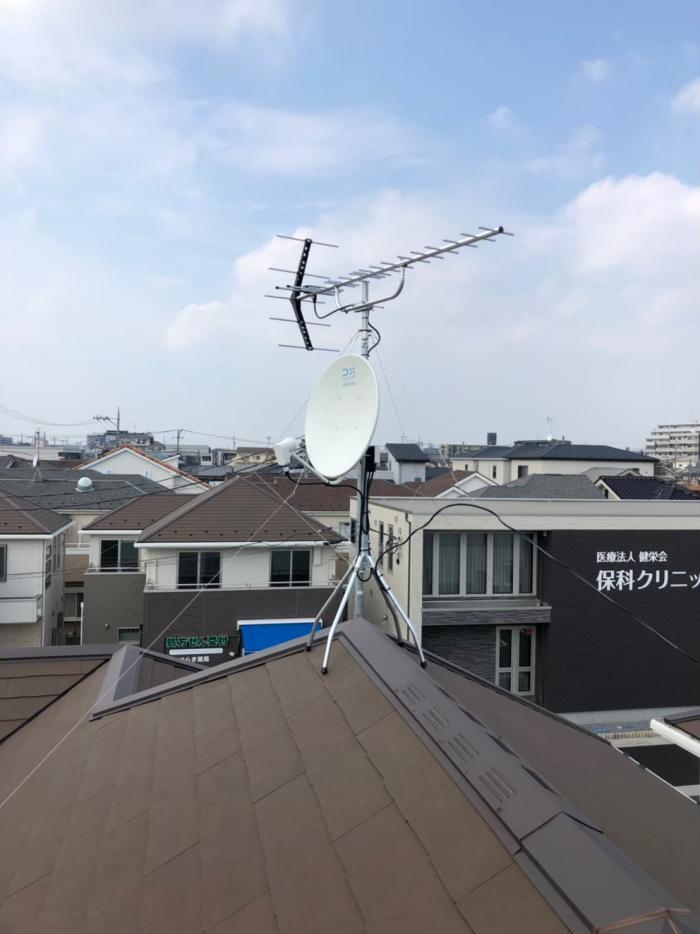 さいたま市桜区田島 UHFアンテナ+BS/CSアンテナ工事