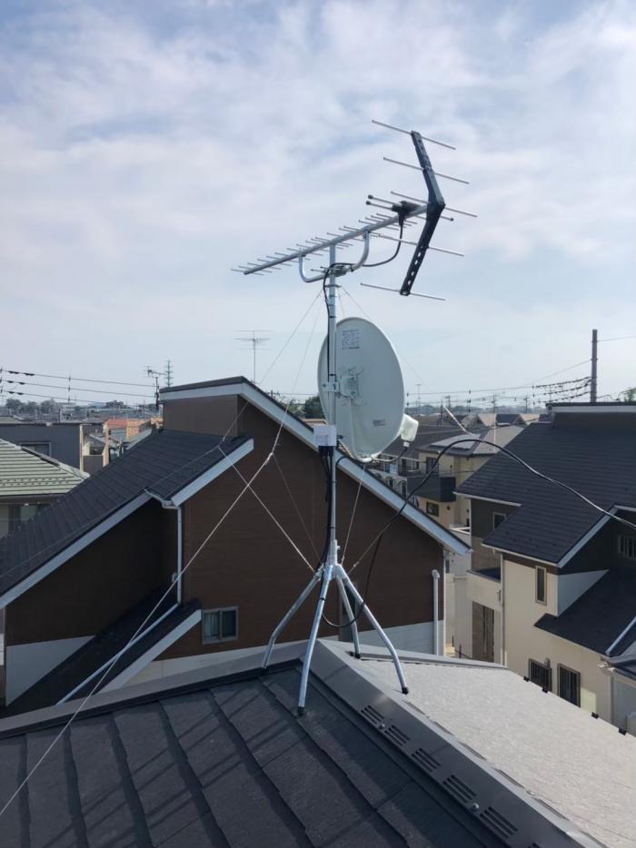 鴻巣市松原|UHFアンテナ+BS/CSアンテナ工事