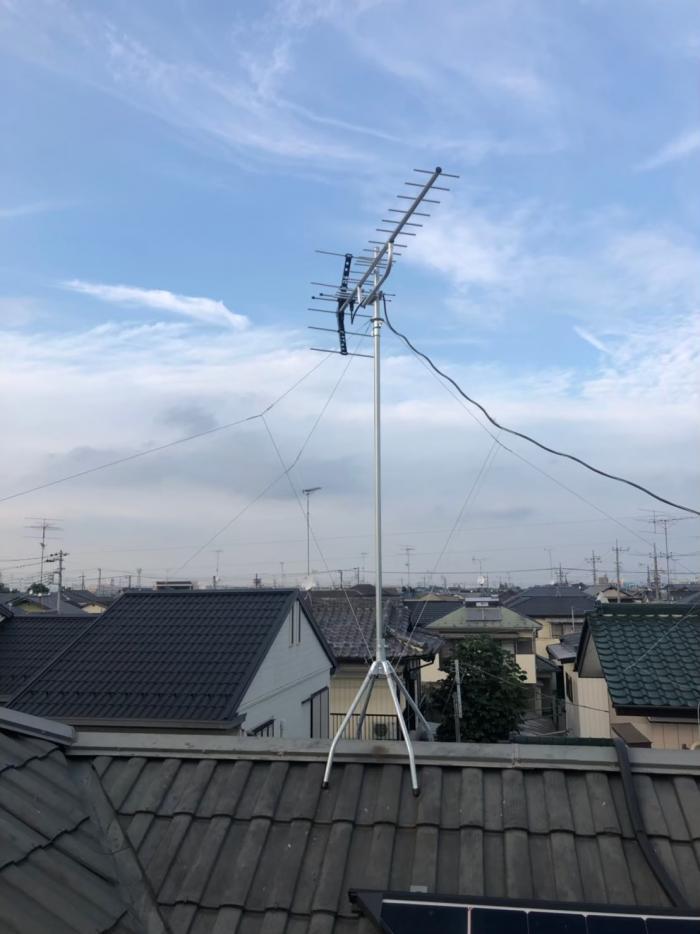 春日部市新方袋 横型デザインアンテナ工事