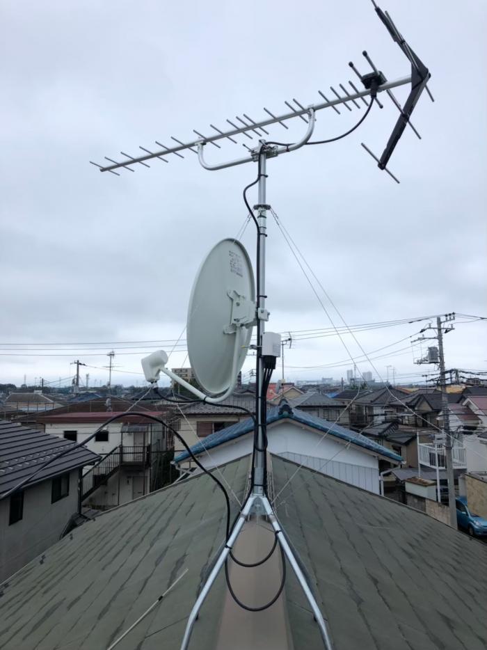 八千代市大和田 UHFアンテナ+BS/CSアンテナ工事