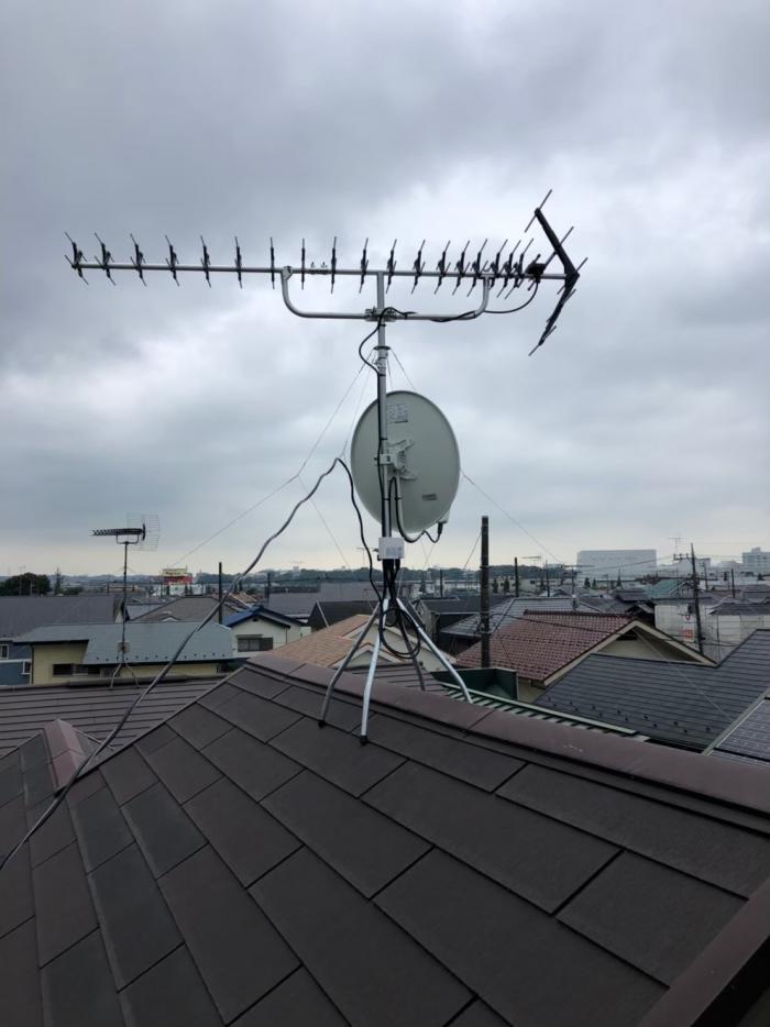 昭島市郷地町|高性能UHFアンテナ+BS/CSアンテナ工事