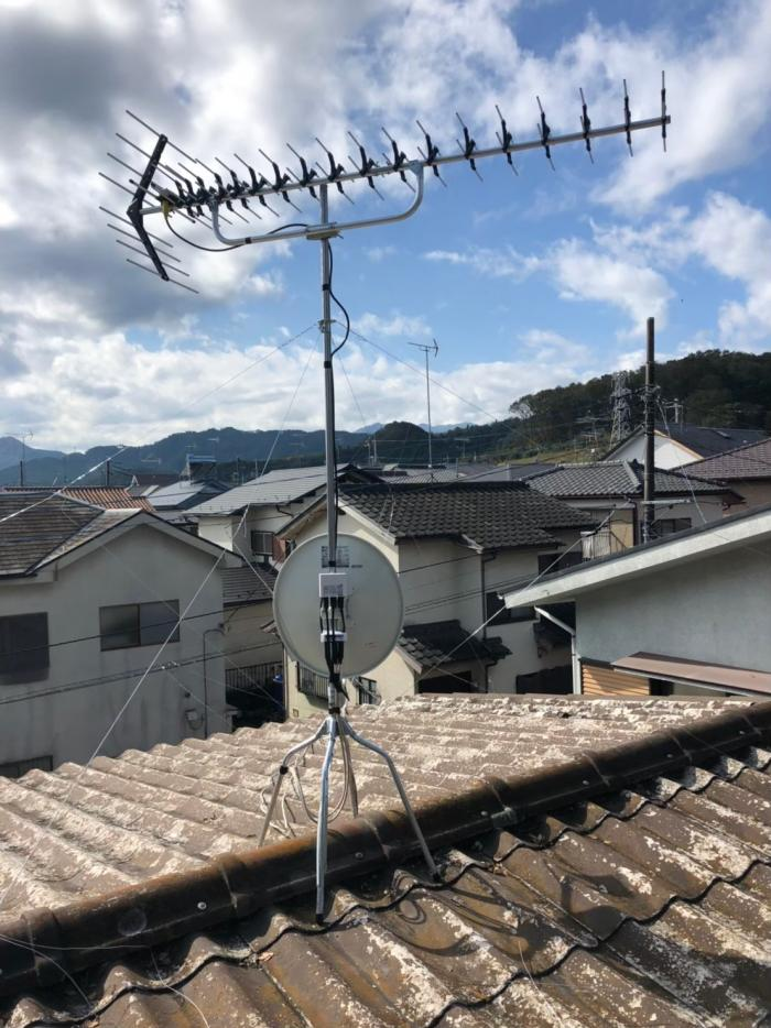 相模原市緑区根小屋|高性能UHFアンテナ+BS/CSアンテナ工事