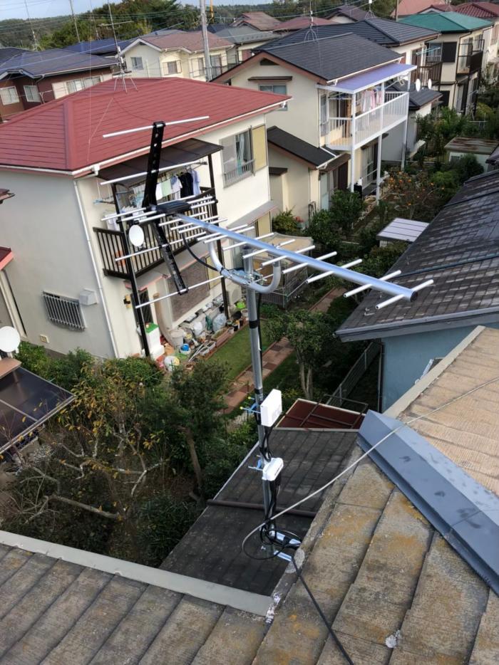 印旛郡栄町安食台 UHFアンテナ+既設アンテナ撤去工事