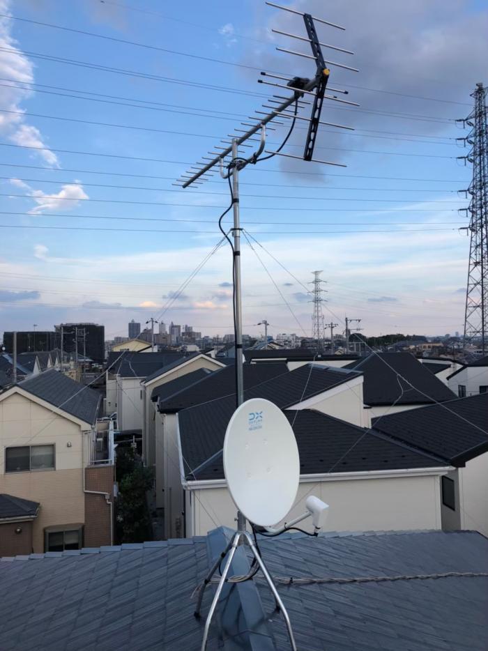 所沢市山口|UHFアンテナ+BS/CSアンテナ工事