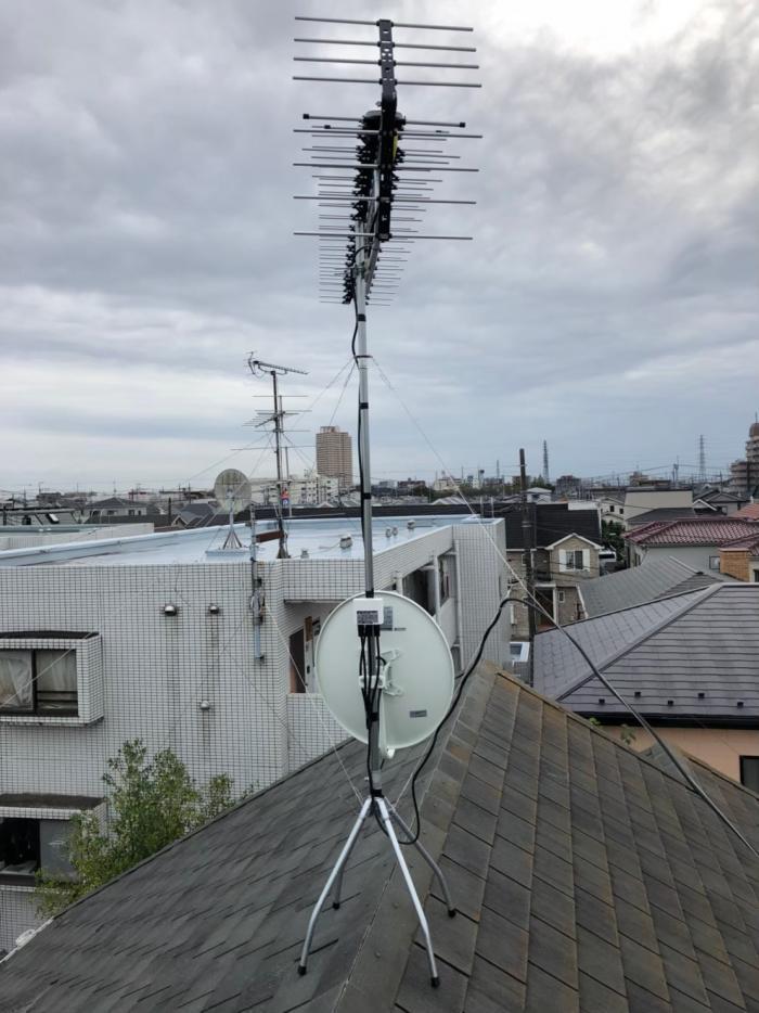 越谷市東大沢 高性能UHFアンテナ+BS/CSアンテナ工事