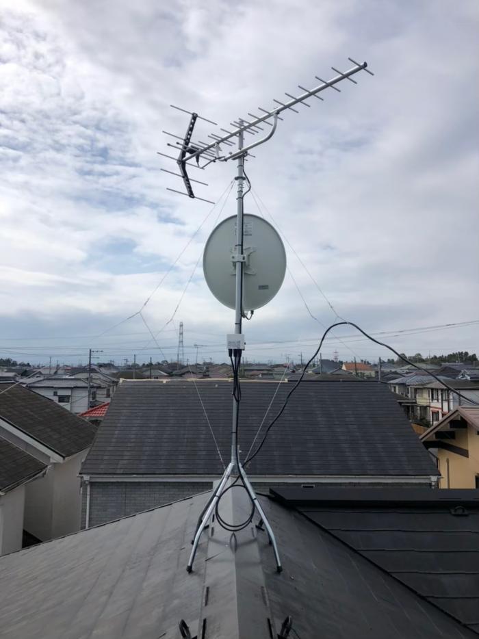 市原市光風台|UHFアンテナ+BS/CSアンテナ工事