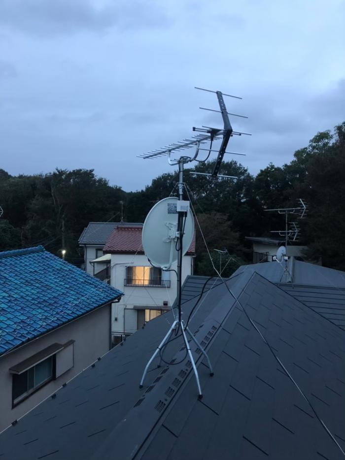 松戸市千駄堀 UHFアンテナ+BS/CSアンテナ工事
