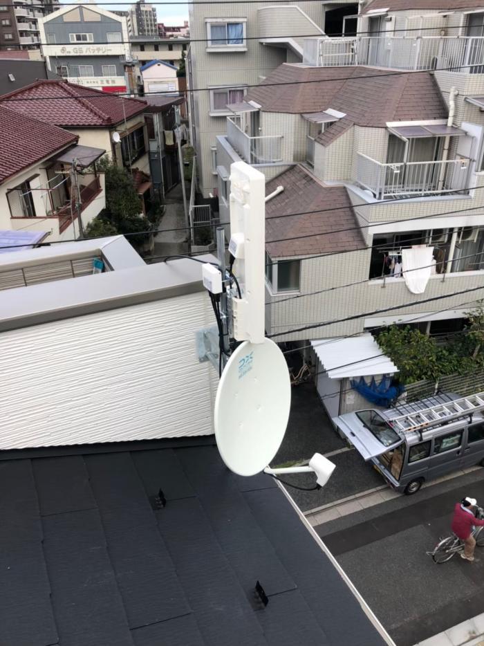 足立区梅田|デザインアンテナ+BS/CSアンテナ工事