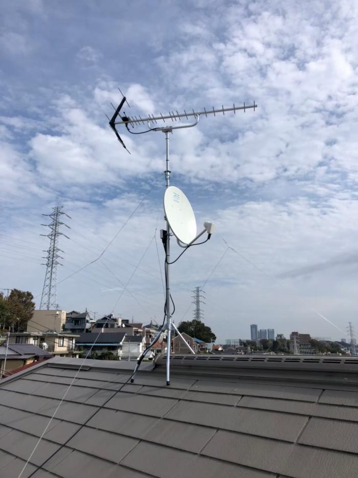 港北区日吉|UHFアンテナ+BS/CSアンテナ工事