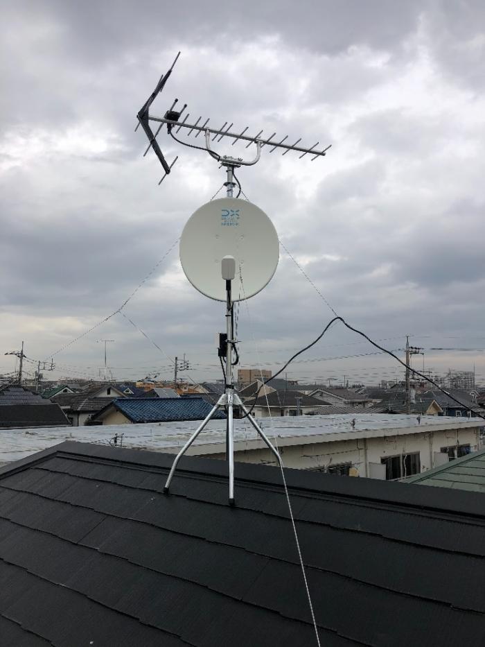 武蔵村山市大南|UHFアンテナ+BS/CSアンテナ工事