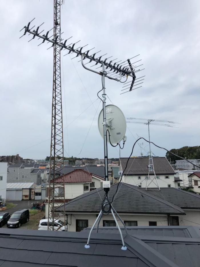 横浜市緑区中山|UHF+BS/CSアンテナ方向調整工事