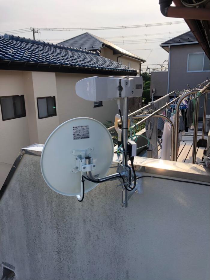 流山市加|横型デザインアンテナ+BS/CSアンテナ工事